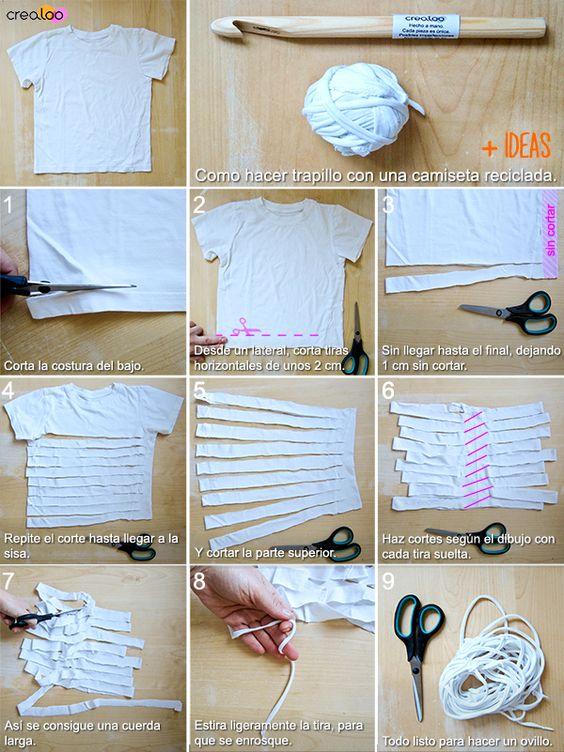 Cómo reconvertir una camiseta en un ovillo de trapillo